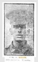 Pte Arthur Bacon. Photograph source Sunday Times 17 9 1915 p1