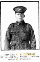 Pte. Dunham A.E. Photo source Western Mail 4.5.1917 p28