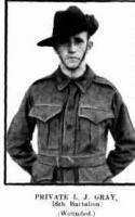 Pte. L. J. Gray. Photo source Western Mail 16.7.1915 p5