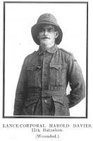 L/ Cpl Harold Davies. Photo source Palmer & Ashworth. 1922
